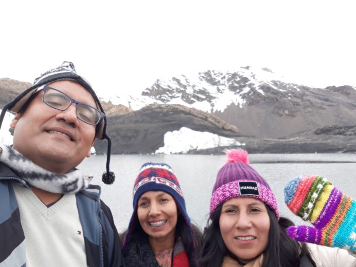 My friends Ericka, Viviana, and me in Huaraz.